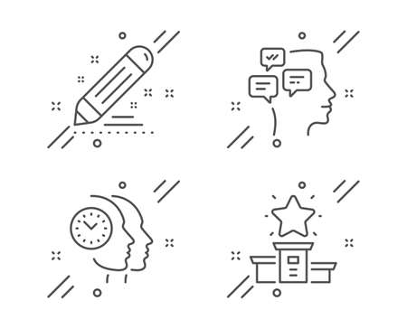 Brand contract, Time management and Messages line icons set. Winner podium sign. Edit report, Teamwork clock, Notifications. First place. Education set. Line brand contract outline icon. Vector