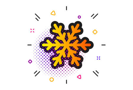 Snowflake sign. Halftone circles pattern. Air conditioning icon. Hotel service symbol. Classic flat air conditioning icon. Vector