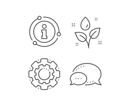Plants watering line icon. Chat bubble, info sign elements. Leaves dew sign. Environmental care symbol. Linear plants watering outline icon. Information bubble. Vector