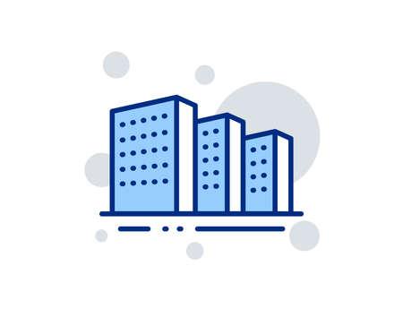 Buildings line icon. City architecture sign. Skyscraper building symbol. Linear design sign. Colorful buildings icon. Vector