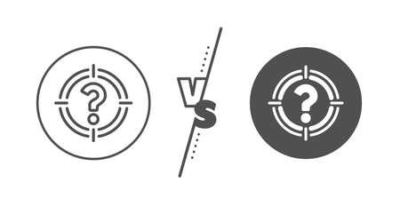 Symbol celu. Kontra koncepcja. Cel z ikoną linii znak zapytania. Pomoc lub znak FAQ. Linia vs ikona klasycznego łowców głów. Wektor