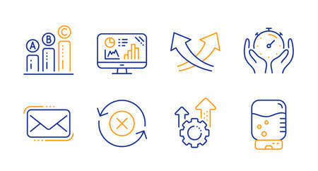 Messenger mail, Intersection arrows and Analytics graph line icons set. Seo gear, Timer and Reject refresh signs. Graph chart, Water cooler symbols. New e-mail, Exchange. Technology set. Vector Archivio Fotografico - 133856046