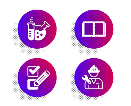 Chemistry lab, Book and Checkbox icons simple set. Halftone dots button. Repairman sign. Laboratory, E-learning course, Survey choice. Repair service. Technology set. Vector