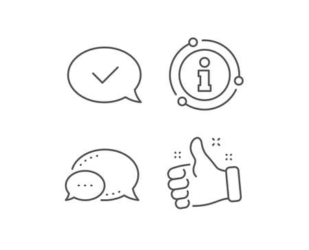 Approve line icon. Chat bubble, info sign elements. Accepted or confirmed sign. Speech bubble symbol. Linear approved message outline icon. Information bubble. Vector