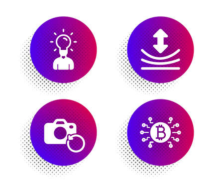 Resilience, Recovery photo and Education icons simple set. Halftone dots button. Bitcoin system sign. Elastic, Backup data, Human idea. Cryptocurrency scheme. Science set. Vector