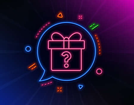 Gift box with Question mark line icon. Neon laser lights. Present or Sale sign. Birthday Shopping symbol. Package in Gift Wrap. Glow laser speech bubble. Neon lights chat bubble. Vector
