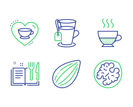 Doppio, Love coffee and Recipe book line icons set. Almond nut, Tea and Walnut signs. Coffee drink, Cappuccino mug, Food. Vegetarian food. Food and drink set. Line doppio outline icons. Vector Illusztráció