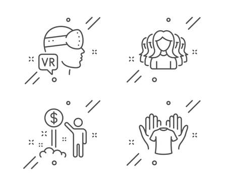 Women group, Income money and Augmented reality line icons set. Hold t-shirt sign. Lady service, Wealth, Virtual reality. Laundry shirt. People set. Line women group outline icon. Vector