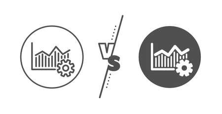 Cogwheel sign. Versus concept. Operational excellence line icon. Line vs classic operational excellence icon. Vector Ilustração