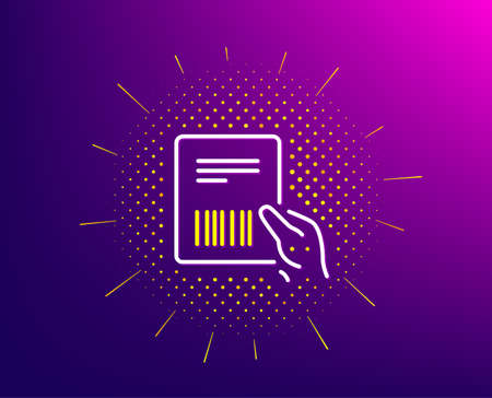 Parcel invoice line icon. Halftone pattern. Delivery document sign. Package shipping symbol. Gradient background. Parcel invoice line icon. Yellow halftone pattern. Vector 일러스트