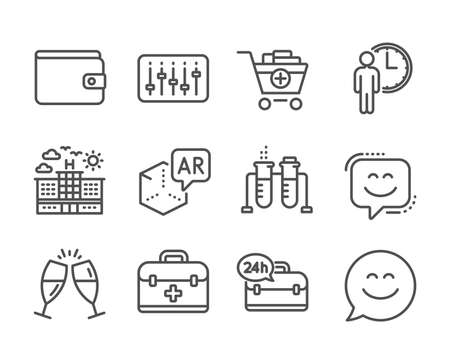 Set of Business icons, such as Smile face, Add products, Champagne glasses, Hotel, Money wallet, First aid, Smile chat, Augmented reality, Waiting, 24h service, Dj controller line icons. Vector Reklamní fotografie - 133856068