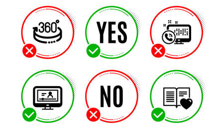 Online video, 360 degrees and Web call icons simple set. Yes no check box. Love book sign. Video exam, Full rotation, Phone support. Customer feedback. Technology set. Online video icon. Vector
