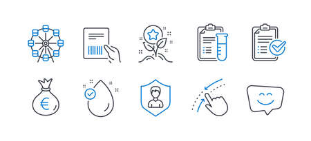 Set of Business icons, such as Ferris wheel, Swipe up, Parcel invoice, Survey checklist, Medical analyzes, Loyalty points, Security agency, Money bag, Vitamin e, Smile face line icons. Vector Reklamní fotografie - 133856088
