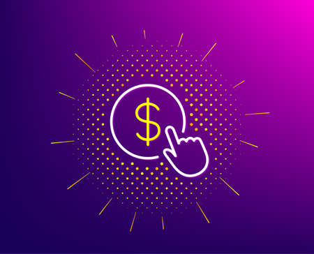 Hand Click line icon. Halftone pattern. Currency exchange sign. Cursor pointer symbol. To pay or get money. Gradient background. Buy Currency line icon. Yellow halftone pattern. Vector