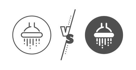 Bathroom sign. Versus concept. Shower line icon. Hotel service symbol. Line vs classic shower icon. Vector  イラスト・ベクター素材