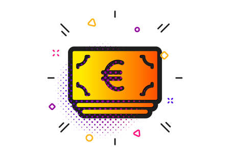 Banking currency sign. Halftone circles pattern. Cash money icon. Euro or EUR symbol. Classic flat euro currency icon. Vector