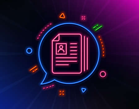 Business recruitment line icon. Neon laser lights. CV documents or Portfolio sign. Glow laser speech bubble. Neon lights chat bubble. Banner badge with cV documents icon. Vector