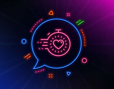 Timer line icon. Neon laser lights. Time management sign. Stopwatch with heart symbol. Glow laser speech bubble. Neon lights chat bubble. Banner badge with timer icon. Vector 일러스트