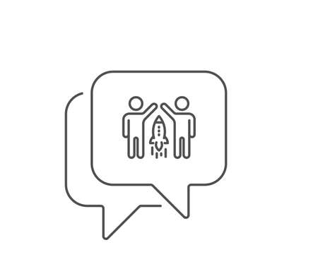 Partnership line icon. Chat bubble design. Business management sign. Launch startup project symbol. Outline concept. Thin line partnership icon. Vector 向量圖像