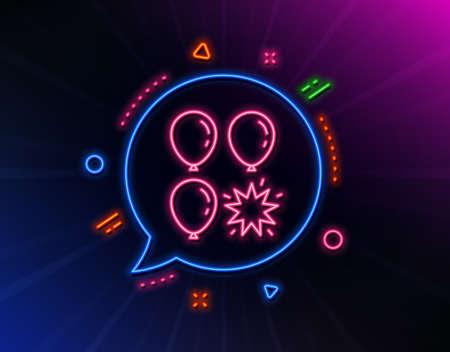 Balloon dart line icon. Neon laser lights. Amusement park sign. Pop the balloon symbol. Glow laser speech bubble. Neon lights chat bubble. Banner badge with balloon dart icon. Vector