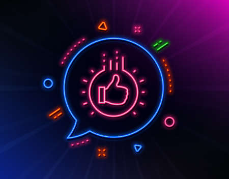 Like hand line icon. Neon laser lights. Thumbs up finger sign. Brand ambassador gesture symbol. Glow laser speech bubble. Neon lights chat bubble. Banner badge with like hand icon. Vector