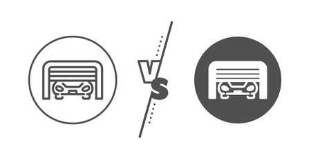 Auto park sign. Versus concept. Parking garage line icon. Car place symbol. Line vs classic parking garage icon. Vector