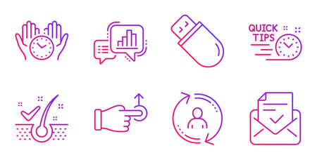 Drag drop, Quick tips and Safe time line icons set. Graph chart, Usb stick and Anti-dandruff flakes signs. User info, Approved mail symbols. Move, Helpful tricks. Technology set. Vector Illustration