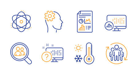 Report document, Atom and Search employees line icons set. Online quiz, Weather thermometer and Report statistics signs. Engineering, Teamwork symbols. Growth chart, Electron. Science set. Vector