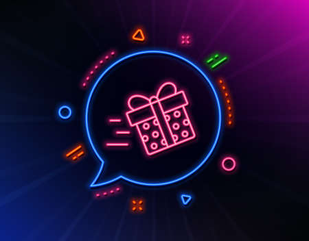 Gift box Delivery line icon. Neon laser lights. Present or Sale sign. Birthday Shopping symbol. Package in Gift Wrap. Glow laser speech bubble. Neon lights chat bubble. Vector