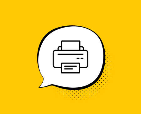 Printer icon. Comic speech bubble. Printout Electronic Device sign. Office equipment symbol. Yellow background with chat bubble. Printer icon. Colorful banner. Vector Illustration
