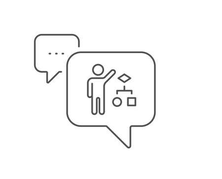 Algorithm line icon. Chat bubble design. Business management sign. Development symbol. Outline concept. Thin line algorithm icon. Vector Stock Vector - 133856176