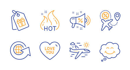 Sale megaphone, Airplane travel and Hot sale line icons set. Coupons, Love you and World globe signs. Smile symbol. Shopping, Trip flight. Holidays set. Line sale megaphone icon. Vector