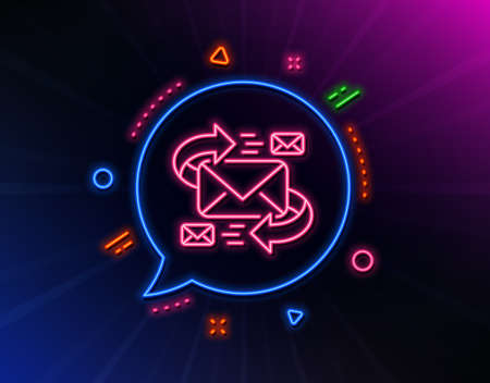 Mail line icon. Neon laser lights. Communication by letters symbol. E-mail chat sign. Glow laser speech bubble. Neon lights chat bubble. Banner badge with e-Mail icon. Vector Illustration