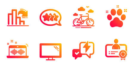 Bike rental, Music making and Lightning bolt line icons set. Stars, Pet friendly and Monitor signs. Decreasing graph, Certificate symbols. Bicycle, Dj app. Business set. Vector