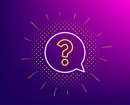 Question mark line icon. Halftone pattern. Help speech bubble sign. FAQ symbol. Gradient background. Question mark line icon. Yellow halftone pattern. Vector