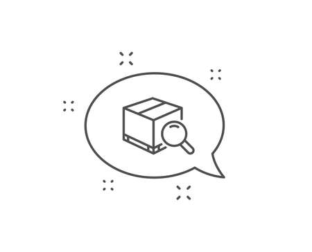 Search package line icon. Chat bubble design. Delivery box sign. Parcel tracking symbol. Outline concept. Thin line search package icon. Vector