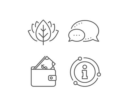 Wallet with Cash money line icon. Chat bubble, info sign elements. Dollar currency sign. Payment method symbol. Linear wallet outline icon. Information bubble. Vector