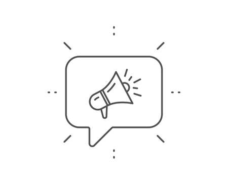Megaphone line icon. Chat bubble design. Advertisement device symbol. Brand ambassador loudspeaker sign. Outline concept. Thin line megaphone icon. Vector Stock Vector - 133856189