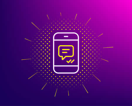 Phone Message line icon. Halftone pattern. Mobile chat sign. Conversation or SMS symbol. Gradient background. Message line icon. Yellow halftone pattern. Vector