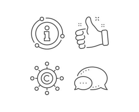 Copywriting network line icon. Chat bubble, info sign elements. Copyright sign. Content networking symbol. Linear copywriting network outline icon. Information bubble. Vector