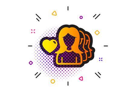 Group of Women sign. Halftone circles pattern. Couple Love icon. Valentines day symbol. Classic flat woman love icon. Vector