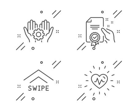 Employee hand, Swipe up and Certificate line icons set. Heartbeat sign. Work gear, Scrolling arrow, Certified guarantee. Medical heart. Science set. Line employee hand outline icon. Vector Ilustração