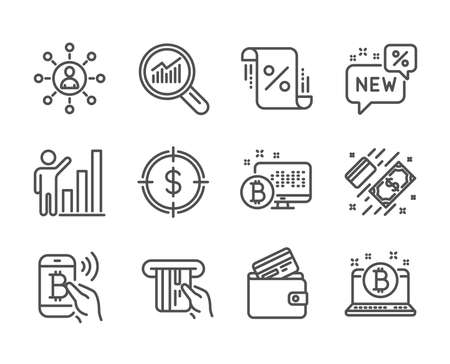 Set of Finance icons, such as Loan percent, Credit card, Bitcoin, Debit card, Networking, New, Graph chart, Payment, Bitcoin pay, Data analysis, Dollar target line icons. Loan percent icon. Vector