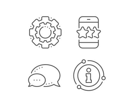 Star line icon. Chat bubble, info sign elements. Feedback rating phone sign. Customer satisfaction symbol. Linear star outline icon. Information bubble. Vector