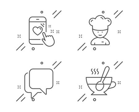 Heart rating, Talk bubble and Cooking chef line icons set. Tea cup sign. Phone feedback, Chat message, Sous-chef. Coffee with spoon. Business set. Line heart rating outline icon. Vector