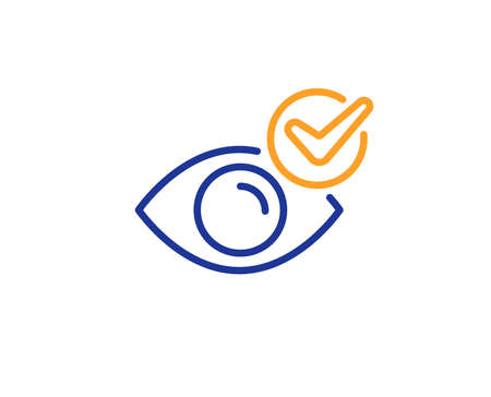 Oculist clinic sign. Check eye line icon. Optometry vision symbol. Colorful outline concept. Blue and orange thin line check eye icon. Vector Illustration