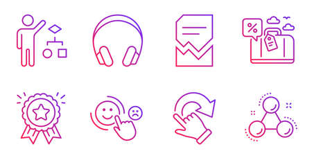 Customer satisfaction, Loyalty award and Corrupted file line icons set. Travel loan, Rotation gesture and Headphones signs. Algorithm, Chemistry molecule symbols. Happy smile, Bonus medal. Vector