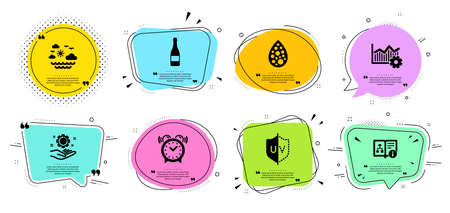 Champagne bottle, Employee hand and Technical algorithm line icons set. Chat bubbles with quotes. Uv protection, Alarm clock and Artificial colors signs. Vector 일러스트