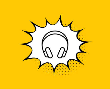 Headphones line icon. Comic speech bubble. Music listening device sign. DJ or Audio symbol. Yellow background with chat bubble. Headphones icon. Colorful banner. Vector Ilustrace