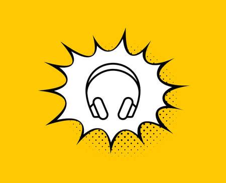 Headphones line icon. Comic speech bubble. Music listening device sign. DJ or Audio symbol. Yellow background with chat bubble. Headphones icon. Colorful banner. Vector Illustration